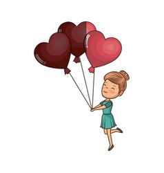 Cute girl with hearts balloons vector