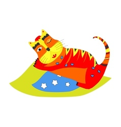 Cute kitten sleeping on the blue pillow vector image