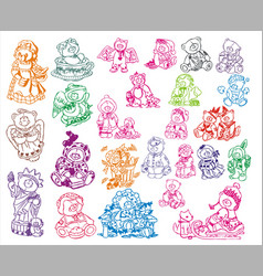 Cute teddy set vector