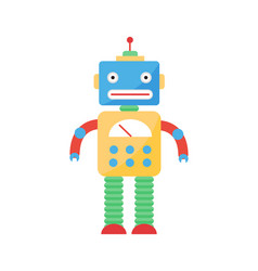 cute vintage robot technology toy machine future vector image
