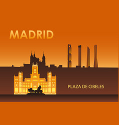 Cybele palace in night madrid vector