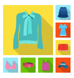 design of woman and clothing symbol set of vector image