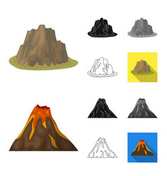 different mountains cartoonblackflatmonochrome vector image