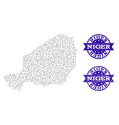 Dotted map of niger and distress seal collage vector