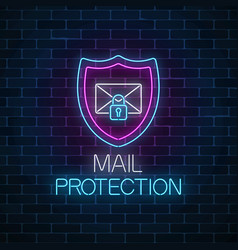 e-mail protection glowing neon sign on dark brick vector image