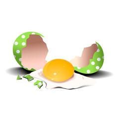 easter holiday background with broken egg vector image