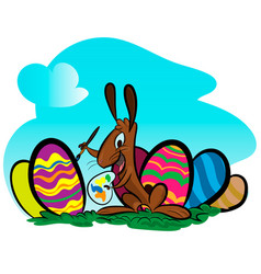 Easter rabbit with easter egg vector