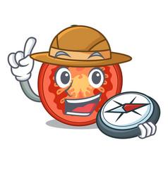 Explorer cartoon fresh tomato slices for cooking vector