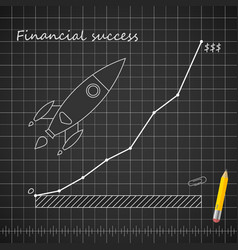 financial success blueprint template with rocket vector image