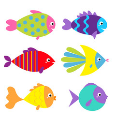 fish icon set cute cartoon kawaii funny character vector image