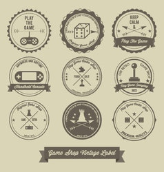 Game Shop Vintage label design vector image