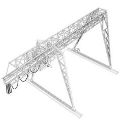 gantry crane wire-frame rendering of 3d vector image