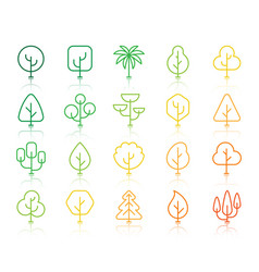 geometric trees simple color line icons set vector image