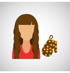 Girl with oven gloves icon vector