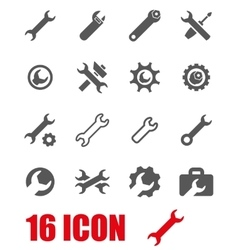 grey settings wrench icon set vector image