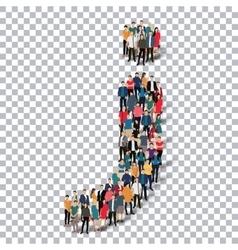 Group people shape letter J Transparency vector