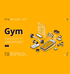 gym isometric landing page fitness equipment vector image