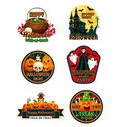 halloween night party label and badge with pumpkin vector image
