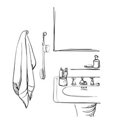 Hand drawn bathroom washbasin and mirror sketch vector