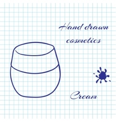 Hand drawn line art cosmetics on notebook paper vector image