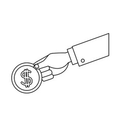 hand holding coin dollar money banking vector image