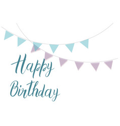 happy birthday text with purple and blue vector image