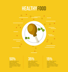 healthy food infographic with related icons vector image