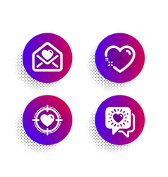 heart love letter and valentine target icons set vector image