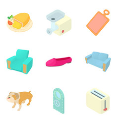 Home stuff icons set cartoon style vector