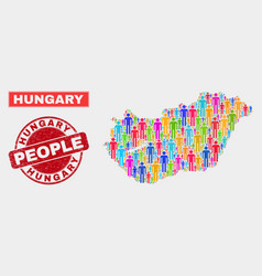 Hungary map population people and unclean stamp vector