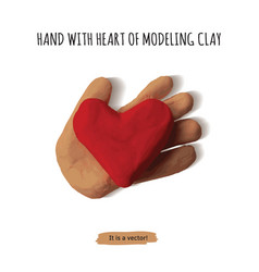 isolated object hand with heart modeling clay vector image