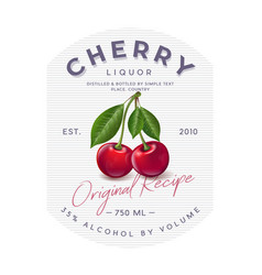 Liquor label red ripe cherry and letters vector