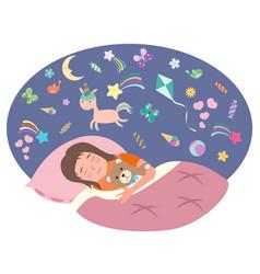 Little girl is sleeping children s dreams vector