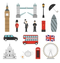 London Landmarks Flat Icons Set vector