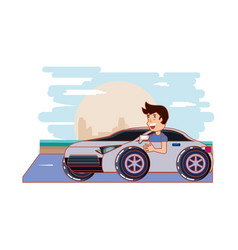 Man driving car driver safely vector