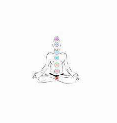 Man meditate chacras vector