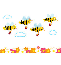many cute bees fly with honey over flowers vector image