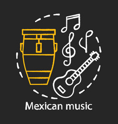 mexican music chalk concept icon latino acoustic vector image