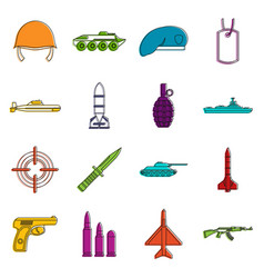 military icons doodle set vector image