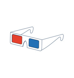 Modern 3d cinema glasses entertainment eyesight vector