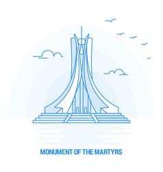 Monument of the martyrs blue landmark creative vector