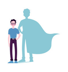 motivated man icon with superhero shadow flat vector image