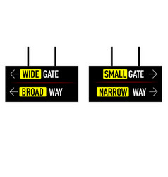 Narrow and broad way wide small gate vector