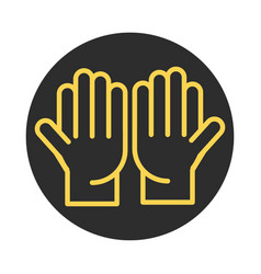 open hands gesture palm traditional block and line vector image
