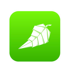 origami leaf icon green vector image
