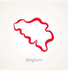 Outline map of belgium marked with red line vector