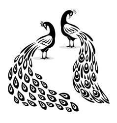 peafowl silhouettes black peacock logo elements vector image