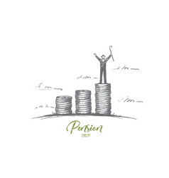 pension concept hand drawn isolated vector image