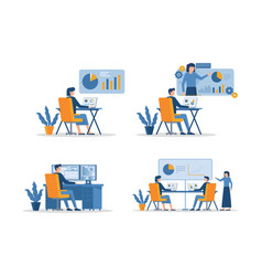 People work at computers and laptops vector