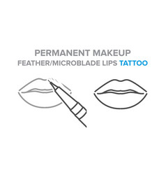 Permanent makeup feather microblade lips tattoo vector